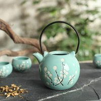 Wholesale Hot sale ml Five piece ceramic tea set with hand painted pattern business gifts souvenir to customers home use tea set