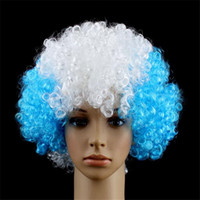 tell us you need Long Boy European Cup Wigs Halloween disco curly wig Party wigs Rainbow Afro wigs Child Adult Costume Football Fan Wig Hair Fun