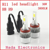 automotive light bulb sockets - 2PCS W lm H11 LED Headlight H8 socket All In One K White Car Lamps Automotive Lights vehicle led headlight bulb COB