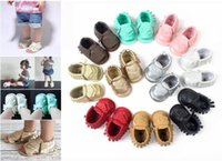 Wholesale 18Colors Baby PU leather Sandals first walker shoes Infant Tassels mocassions baby shoes soft soled Boot Booties Free DHL