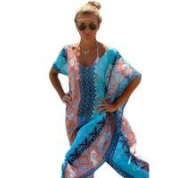 achat en gros de xxl estampage-V Turquie timbre chic Collier robe en mousseline de soie Style jupe tunique sexy Bikini Beach Spa Resort