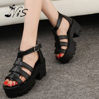 Wholesale Summer Women Lady Sandal Mujer Zapatos Strappy Platform Mid Thick Heel Buckle Leather Peep Toe Chunky Sandals Gladiator Shoe
