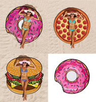 Wholesale Sexy Swimsuit Design - High Quality 3 Design Round Donut Pizza Hamburger Towel Beach Cover Ups Sexy Beach Towel Chiffon Swimsuit Cover Up Yoga Mat
