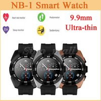 achat en gros de écran vibratoire-Plus récent 0.99mm Ultra Thin Smart Watch NB-1 Bluetooth avec cardiofréquencemètre Sleep Pedometer Tracker Vibrator Lighten Screen Wrist Watch