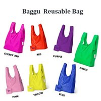 Wholesale Baggu Tote Bags New Candy Colors Reusable Shopping Bag Portable Folding Pouch Lunch Bag Purse Handbag Enviorment Safe Go Green