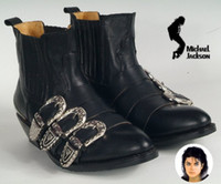 bad boot - Rare Michael Jackson Punk Cosplay BAD tour shoes REAL LEATHER MJ Buckle Boots for MJ fans Imtation Show