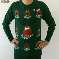 Wholesale New arriving Ugly Christmas Sweaters for Men Santa Claus Eight Reindeers Name Print Pom Pom Nose S XXXL