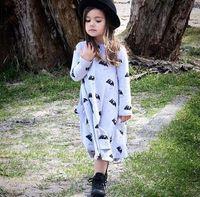 american ink - newborn tutu girls dress luxury Ink Wash Butterfly Printed Princess Dress Girls Baby Long Sleeve Wide Hemline Vintage Dress