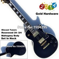 Wholesale Top Quality LP Custom Electric Guitar Black Beauty Gold Hadware Fret nib Binding Retail Real photo Showing
