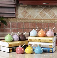Wholesale 1PCS Colorful ceramic spice jar seasoning box condiment bottles box salt canned Kitchen Appliances