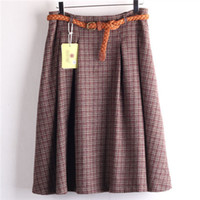 Wholesale Classical Plaid Skirt Women Wool Blend High Waist Midi Skirts With Blet Vintage Casual Women Short Pleated Skirt