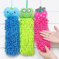 Wholesale 30cm Cute Cartoon Hanging Chenille Towel with Coral Rag Towel Wipes