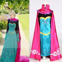 Wholesale XXS XXL Queen Elsa dress Princess cosplay costume Christmas carnival Kids costume Princess dress girls Elsa coronation dress Robe with cape