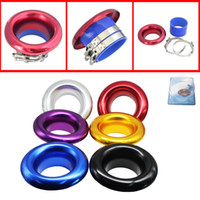 Wholesale Universal quot mm Short RAM Cold Air Compressor Intake Inlet Velocity Stack Turbo Horn Kit silicone clamp Blue Purple Black Gold Siliver