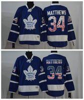 Wholesale 2016 Toronto Maple Leafs Jersey USA Flag Version Auston Matthews ICE Hockey Throwback Vintage White Blue Stitched