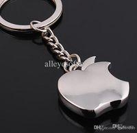 Key Chains apple logo text - Novelty Souvenir Metal Apple Key Chain Custom text logo Creative Gifts Keychain Key Ring Trinket Tz82