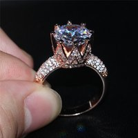 Wholesale Fashion Sterling Silvre Rose Gold Gemstone Diamond CZ Crown Jewelry Cocktail Wedding Birde Band Rings finger for Women