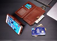 Wholesale Leather Cell Phone Note Holders - 2016 Newest Genuine Leather Zipper Wallet Case Flip Cover For iPhone 7 7 Plus 6 6S, 6   6S Plus, 5S 5 SE