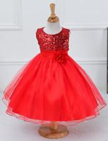 Robes de Noël pour enfants Big Discount Robe Rose rouge filles avec ceinture nouvelle année de bébé Fleur de Coton Polyester Tutu Dress enfants Robe Jupe
