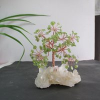 antique olive light - Natural green olive lucky tree pachira white crystal cluster base lucky evil spirits