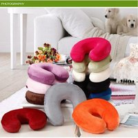 Wholesale Health Care U Shape Memory Foam Travel Pillow Neck Pillow Washable Velvet Cover Best For Plane Bus Car Train Best Present for parents friend