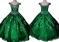 baby portrait photos - Dark Green Girl s Pageant Dresses Short Sleeves A line Rhinestone Designer Cheap Baby Kids Flower Girls Dress Gowns For Teens Wedding
