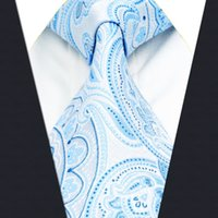 azure fashion - A38 Azure Paisley Mens Ties for male Necktie Silk Jacquard Woven Wedding Fashion Novelty Classic Dress