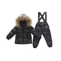 baby snow bibs - 2 Pieces Baby Boys Girl Winter Down Clothing Sets Kids Hooded Outerwear Coat Bib Pants Snowsuit Solid Snow Wear Clothing V30
