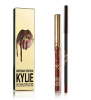 Wholesale Kylie Jenner Lip Kit Kylie Lord Metal Gold THE LIMITED EDITION KYLIE BIRTHDAY COLLECTION Kylie Cosmetic Birthday Swatches