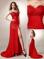 best busts - Top Best Red Evening Wear For Party Split Prom Dress Elegant Iullsion Neck Crystals Bust Bateau Neck Backless LOng Dress Formal Dress Sexy