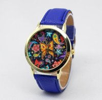 art wrist watch - Fashion Art Butterfly Flower Design Women watch New Cheap leather ladies dress quartz wrist watches