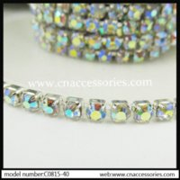 ab base - rystal AB rhinestone chain ss10 AAA glass rhinestones yards in silver base fancy garment accessories sew on trimming M64924 of