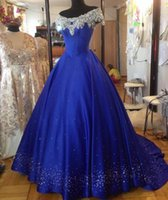 Wholesale Royal Blue Quinceanera Dresses Bling Bling Beaded Off Shoulder Lace Up Sexy Sequin Ball Gown Cheap Sweet Prom Party Dress