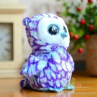 big objects - 1pcs Foreign trade tail single series big eyes Blue owl figurines of objects Lovely carved owl plush toys gifts