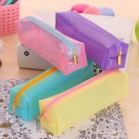 Cheap Wholesale-Fashion Candy Color Stationery Pencil Bag Transparent Silicone Pen Cases Student School Supplies Cosmetic Bag Office Supply