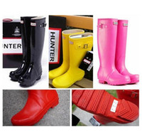 army navy outlet - 2016 Factory Outlets women rain boots Waterproof boots hunter wellies over knee women shoes boots Glossy matte size hunters