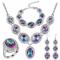 Bijoux en platine Avis-5PCS / SET Natural Mystic Topaz arc-en-925 en argent sterling Parures pour les femmes Boucles d'oreilles / pendentif / collier / anneau / Bracelet Livraison gratuite