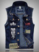 Wholesale HOT Fashion Men S Denim Vest new Cultivate one s morality patch cowboy Vests Tank top Plus Size Jeans Vests coat