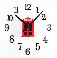antique telephone booth - 2016 New Retro Telephone Booth Self Adhesive Wall Clock Red Blue House Vintage Decorative Clocks Europe Antique Style Clock
