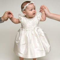 Wholesale 2016 New Baby Infant White Ivory Baptism Gown Christening Dress Lace Floor Length Gown Month With Headband
