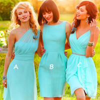 Wholesale Sexy Vestidos One Shoulde or V Neck Knee Length Green Chiffon Bridesmaid Dress Beach bridesmaids Wedding Party Dress Cheap Under