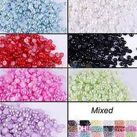 Wholesale 500pcs Half Round Flatback Acrylic Pearl for DIY Nail Art Phone Craft Colors K8