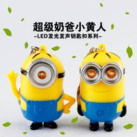 led toys - DHL Cartoon Minion LED Light Keychain Key Ring Flashlight Torch Sound Toy good quality Despicable Me Christmas Xmas Promotion Gift E861