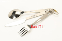 Wholesale MaxTi pure titanium cutlery sets knife spoon fork tableware flatware picnic camping hiking backpacking carabiner anti allergy lightweight