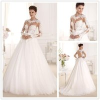 best online bridal gowns - Best Fitted A Line Wedding Dresses Sheer Lace Appliques Tulle Skirt Sexy Open Back Bridal Gowns Custom Online Modest Vestidos