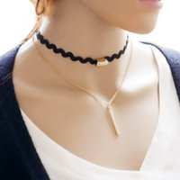 bar samples - Two Layers Lace Choker Necklace with Bar Pendant Choker Necklace Sample Available