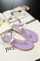 Wholesale 2016 Summer Korean version of the pearl diamond clip toe flat sandals women flat heel sandals women flip stylish and comfortable shoes