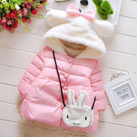 backpacks coated cotton - 2015 factory outlet girls winter new Korean style girls little cute rabbit coat girls explosion padded backpack cloths A020140