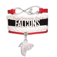 atlanta falcons team - Custom Infinity Love Falcons Football Bracelet Atlanta State Sport Team Wrap Braided Leather Adjustable Bracelet Bangles Drop Shipping