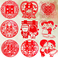 Wholesale Bridal Wedding Happy Character Creative Marriage Put Marriage Room Decorate a Paper cut Cartoon Electrostatic Red Stickers